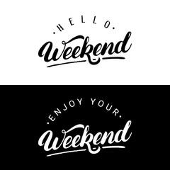 Set of weekend hand written lettering.