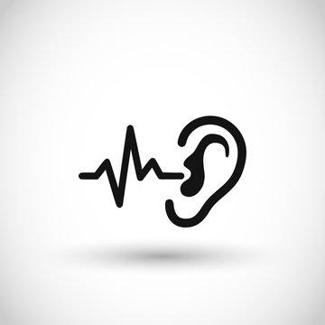 Ear wave sound icon vector