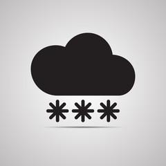 Векторная иллюстрация иконка простой символ плоский для веб Cloud Облако облачко снег снегопад