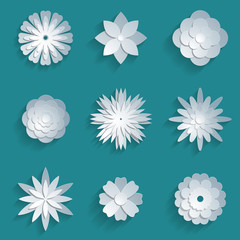Vector paper flowers set. 3d origami icons