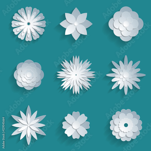 Wall mural Vector paper flowers set. 3d origami icons