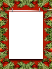 Blank frame hanged by pegs against red background enclosed by red Christmas ornaments and leaves