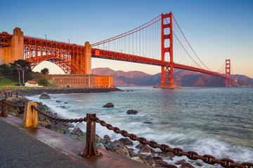 San Francisco. Image of Golden Gate Bridge in San Francisco, California during sunrise. Wall mural