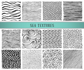 Set of twelve hand drawn ink abstract textures.