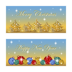 Two oblong horizontal greeting card for the winter holidays. Bright Christmas balls, silhouettes of trees, the stars twinkle. Background vector golden blue gradient. Cartoon style.