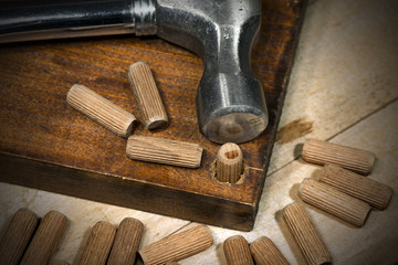 Wooden Dowels on a Brown Plank