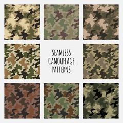 Modern vector fashion trendy camo pattern set