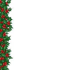 Holly with berry left side border. Vector Christmas and New year design element