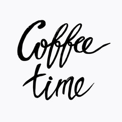 "Hand written lettering phrase ""Coffee time"" background. Vector brush calligraphy design element."