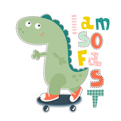 Dinosaur character design for baby fashion. Ts-hirt kids vector print.
