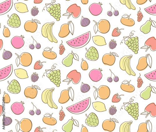 cute hand drawn fruits set editable colorful seamless pattern