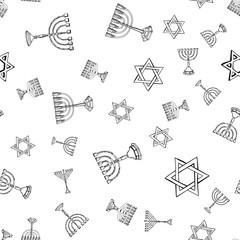 Israel vector pattern with old Menorah, Magen David, Hamsa