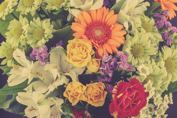 Flower backgrounds in vintage effect style pictures