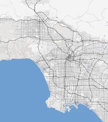 Map Los Angeles city. California Roads