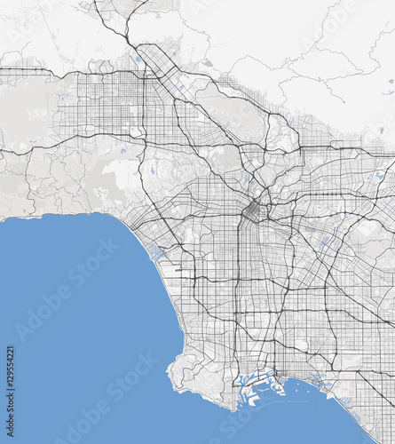 Map Of California Los Angeles.Map Los Angeles City California Roads Stock Image And Royalty Free