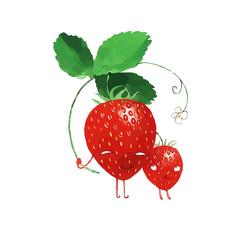 vector watercolor strawberry