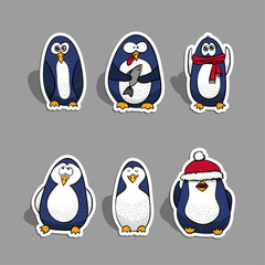 Vector Christmas penguins set