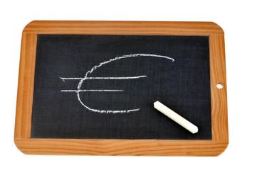 Sigle de l'euro dessiné sur une ardoise
