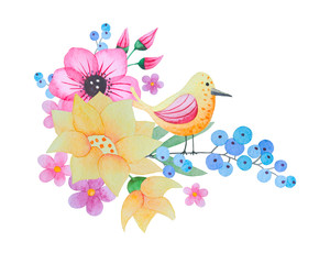 Watercolor flowers and bird.