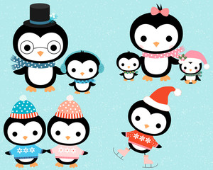 Cute cartoon winter penguin family in flat style with mother, father and children for Christmas cards