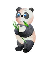 Cartoon panda eating leaves.