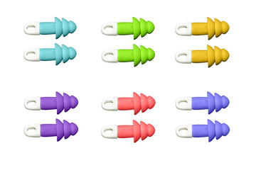 ear plugs multi-colored on white background
