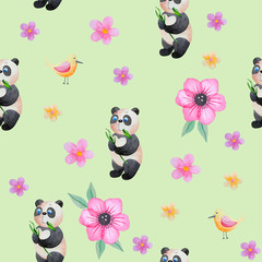 Seamless background with cute pandas.