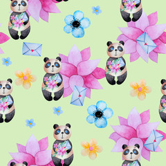 Seamless pattern for kids with pandas.