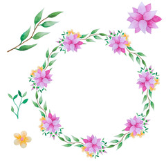 Floral wreath and elements in watercolor.