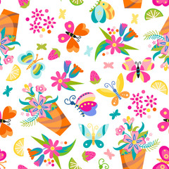 Seamless children's background with butterfly and flowers