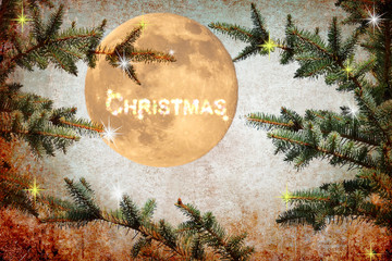 Christmas. Holidays. Christmas tree. Magic night. Shining Moon. Moonlight. Festive fireworks, fairy stars and sparkles. Old paper texture background