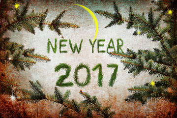 New year 2017. Holidays.Christmas tree. Magic night. Shining Moon. Moonlight. Festive fireworks, fairy stars and sparkles. Old paper texture background