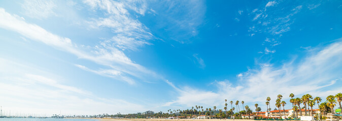 blue sky over Santa Barbara coastline