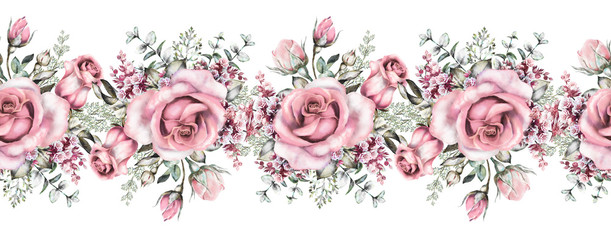 isolated Seamless pattern border with pink flowers, leaves, vintage watercolor floral pattern with leaf and rose, herbs, seamless floral strip, rim, seamless band for cards, wedding or fabric.