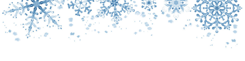 Winter border with blue snowflakes on white background . Hand-painted horizontal illustration Fotoväggar