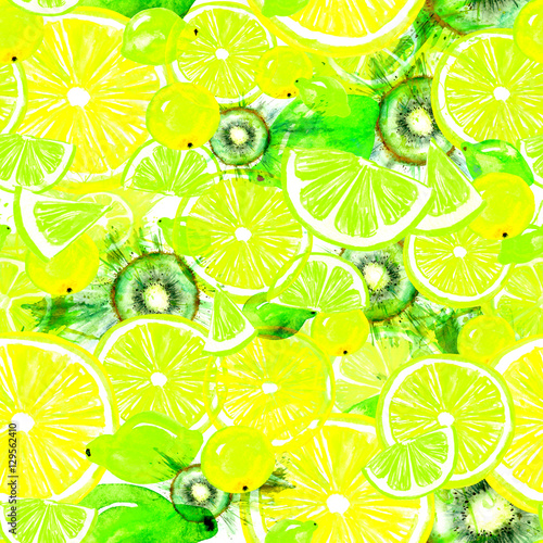 Vintage Pattern With Watercolors From Kiwi Fruit Citrus Spray Lemon Orange Lime Tropical Paint Splash The Background Color Of Yellow