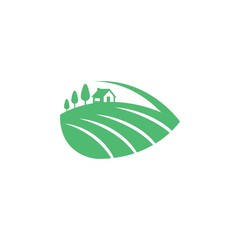 Green Leaf Farm Vector Logo Design Element