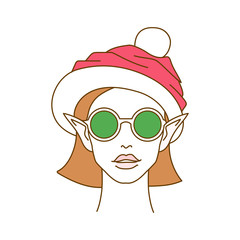 Portrait of young elf wearing round sunglasses and Santa hat