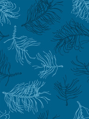 Seamless pattern with silhouettes of winter pine branches in the frost. Christmas. Hand Drawn. Vector illustration.