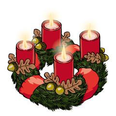 Adventskranz mit Schleife und Eicheln 4. Advent