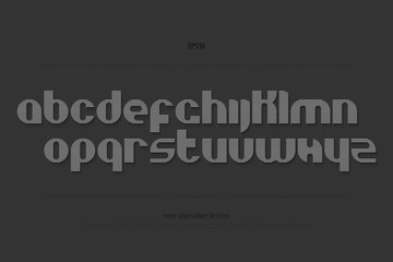 set of stylish alphabet letters isolated on black background. vector contemporary, round font type. modern, striped character design. dynamic typesetting