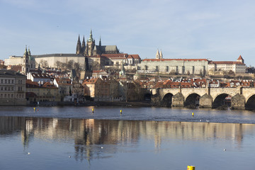 Autumn Lesser Town of Prague with gothic Castle and Charles Bridge, Czech Republic