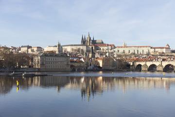 Autumn Lesser Town of Prague with gothic Castle and Charles Bridge, Czech Republic