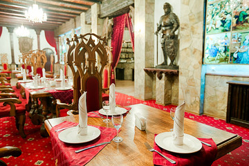 Restaurant with ancient medieval castle interior