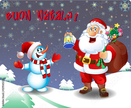 Merry Christmas In Italian.Italian Merry Christmas Congratulations Santa And Snowman