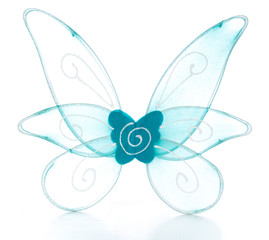 blue fairy wings on white background