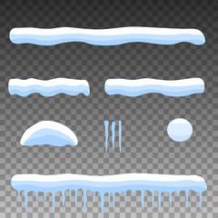 Vector flat set cartoon snow, snowdrift, icicles