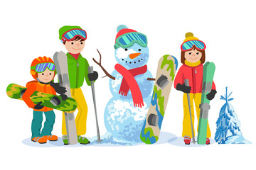 Happy family ski and snowbording with snowman. Vector illustration winter sport concept. People skiers equipment in clothes