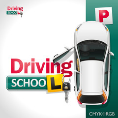 Driving School/The white car on the green parking invites to be trained in driving school