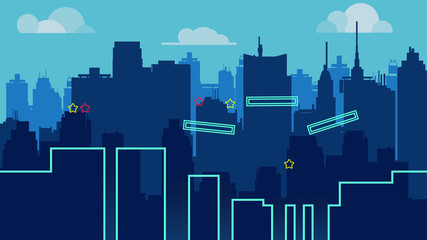 cartoon night city landscape, vector unending background with road, buildings and sky layers